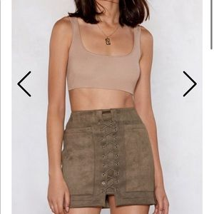 TAN SUEDE LACE UP MINI SKIRT